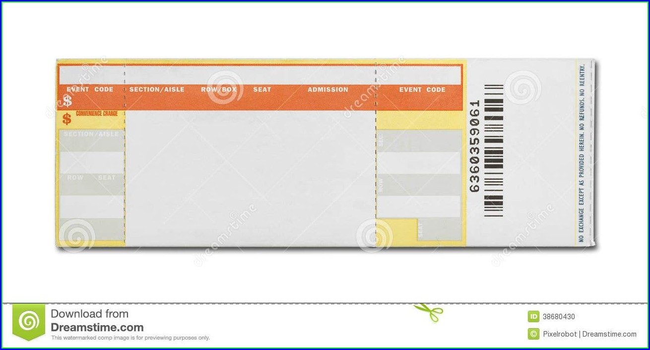 Printable Blank Concert Ticket Template Free