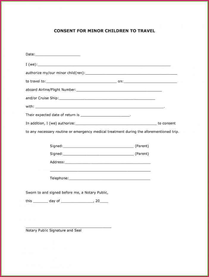 Printable Child Travel Consent Form Template
