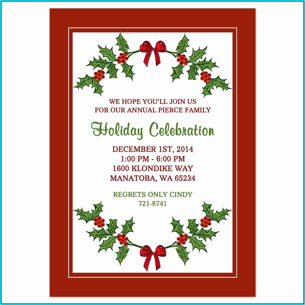 Printable Christmas Free Holiday Party Invitation Templates Word