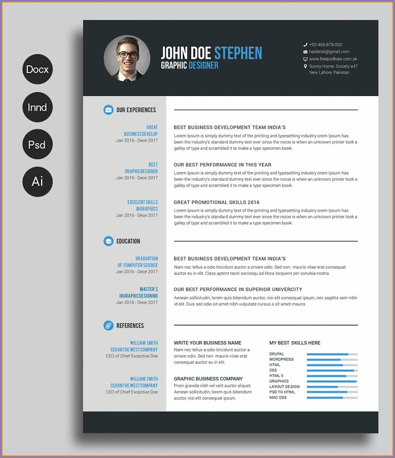 Printable Downloadable Free Modern Resume Templates For Word