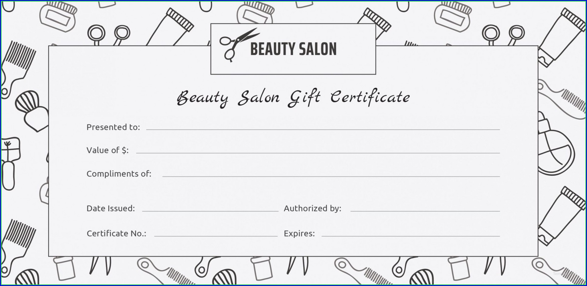 Printable Gift Certificate Template Hair Salon