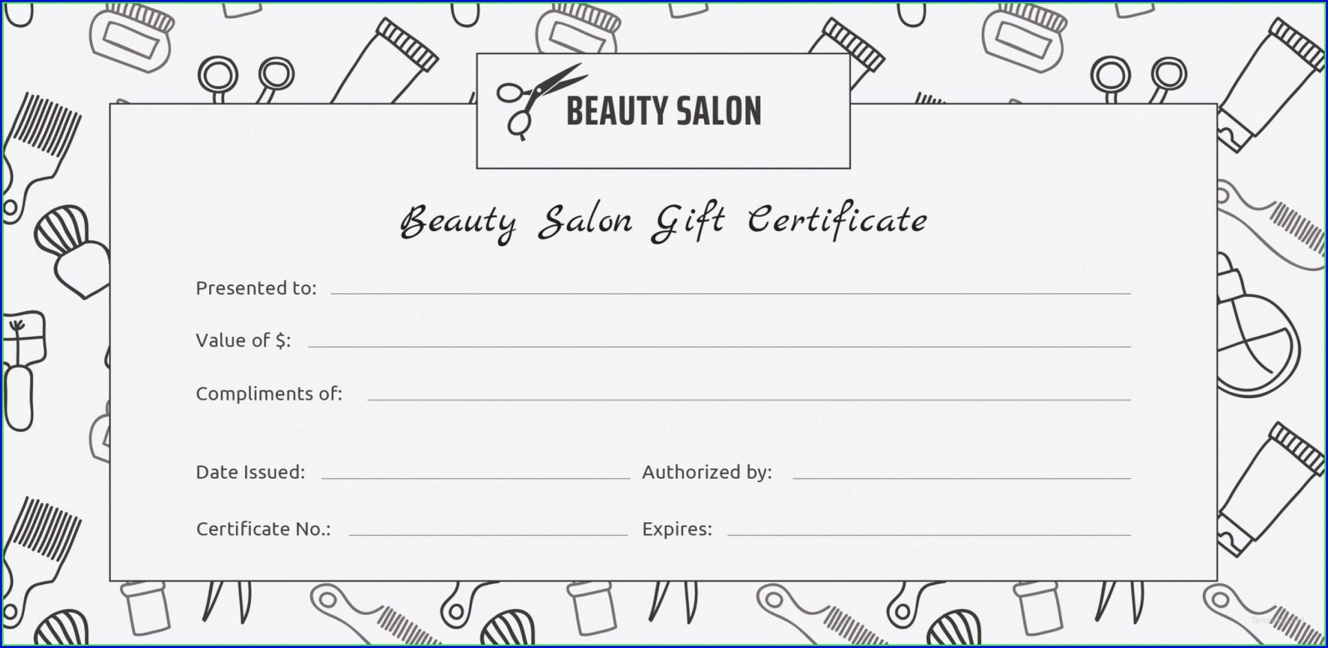 Printable Gift Certificate Template Hair Salon