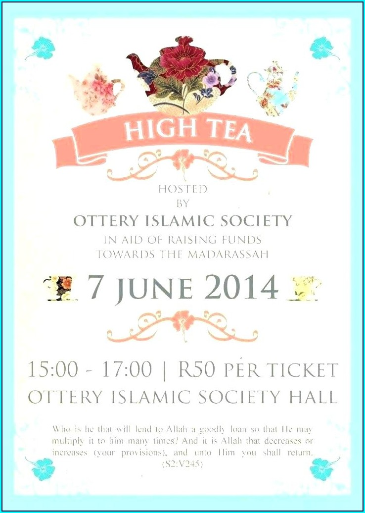 Printable High Tea Invitation Template Blank