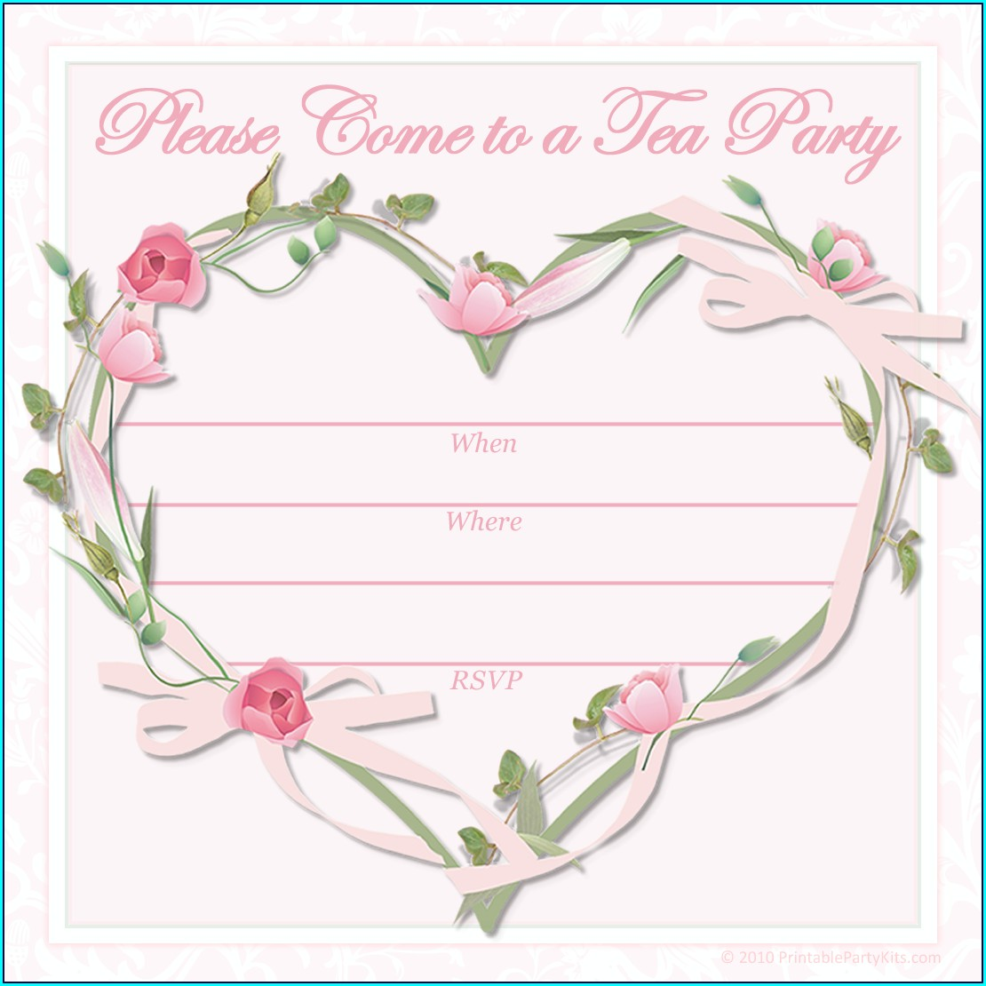 Printable High Tea Invitation Template Free