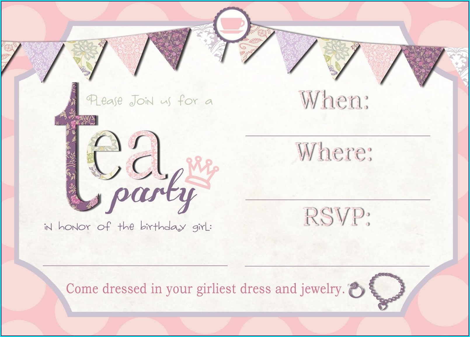 Printable High Tea Invitation Template