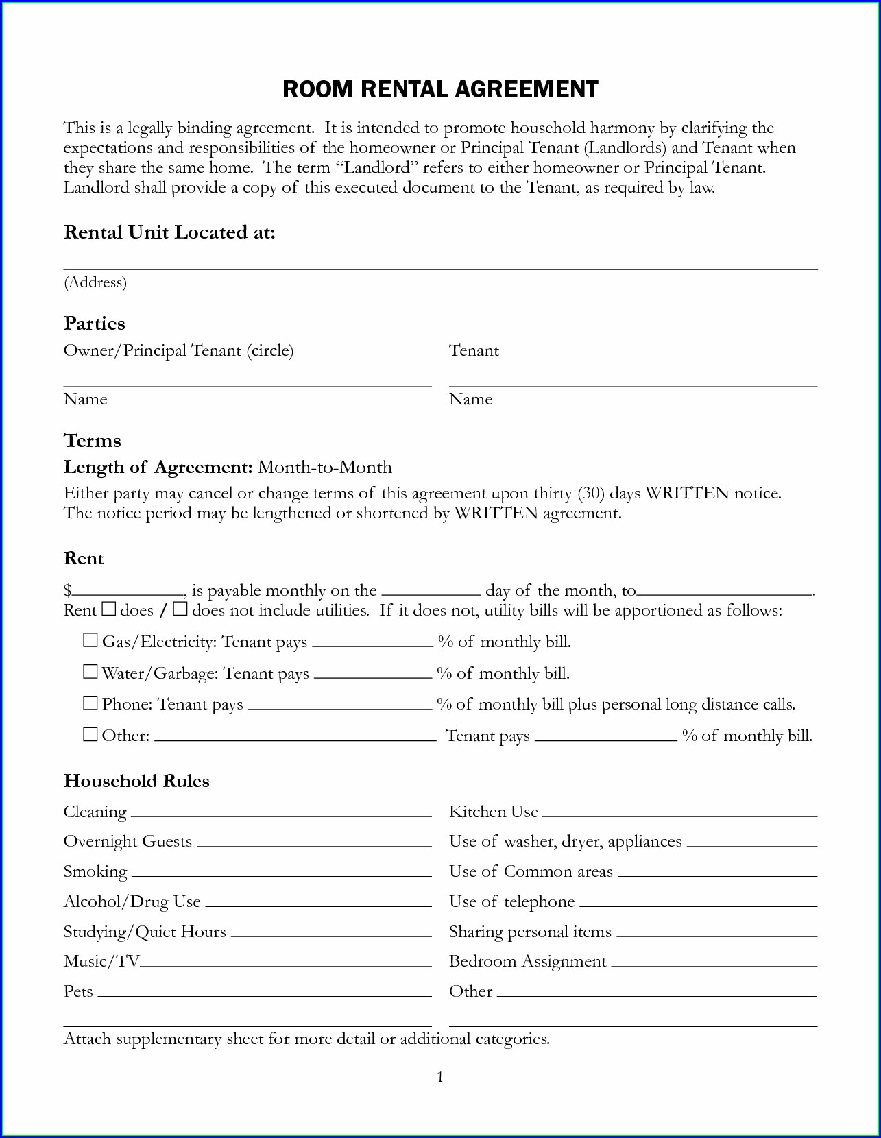 Printable Lease Agreement Template Free