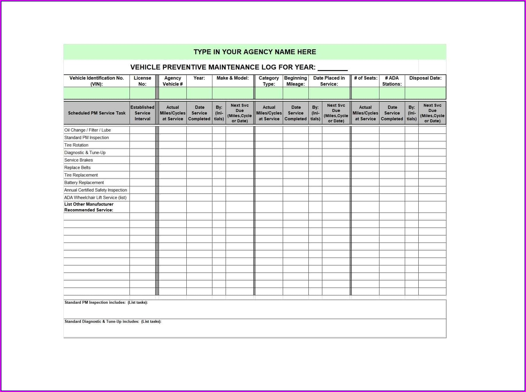 Printable Maintenance Log Book Template