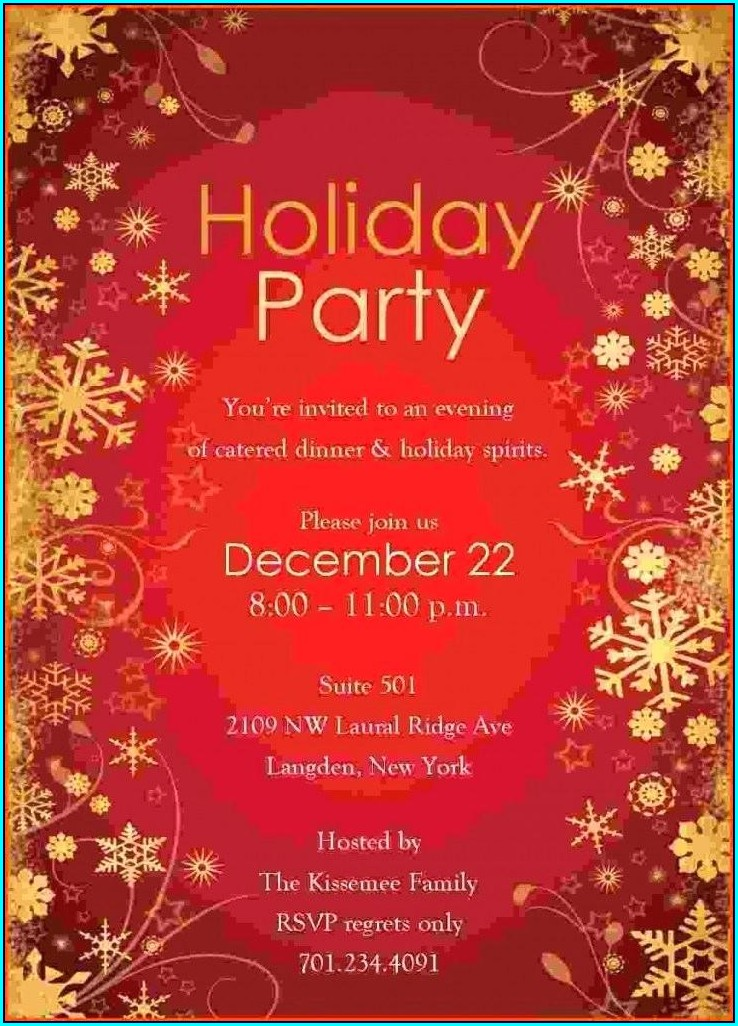 Printable Microsoft Word Free Holiday Party Invitation Templates Word