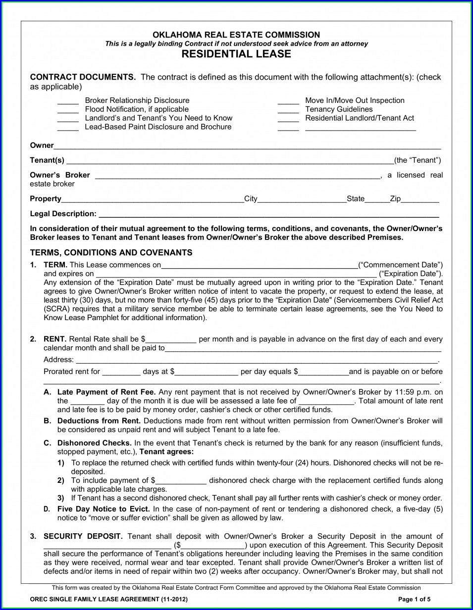 Printable Residential Lease Agreement Template