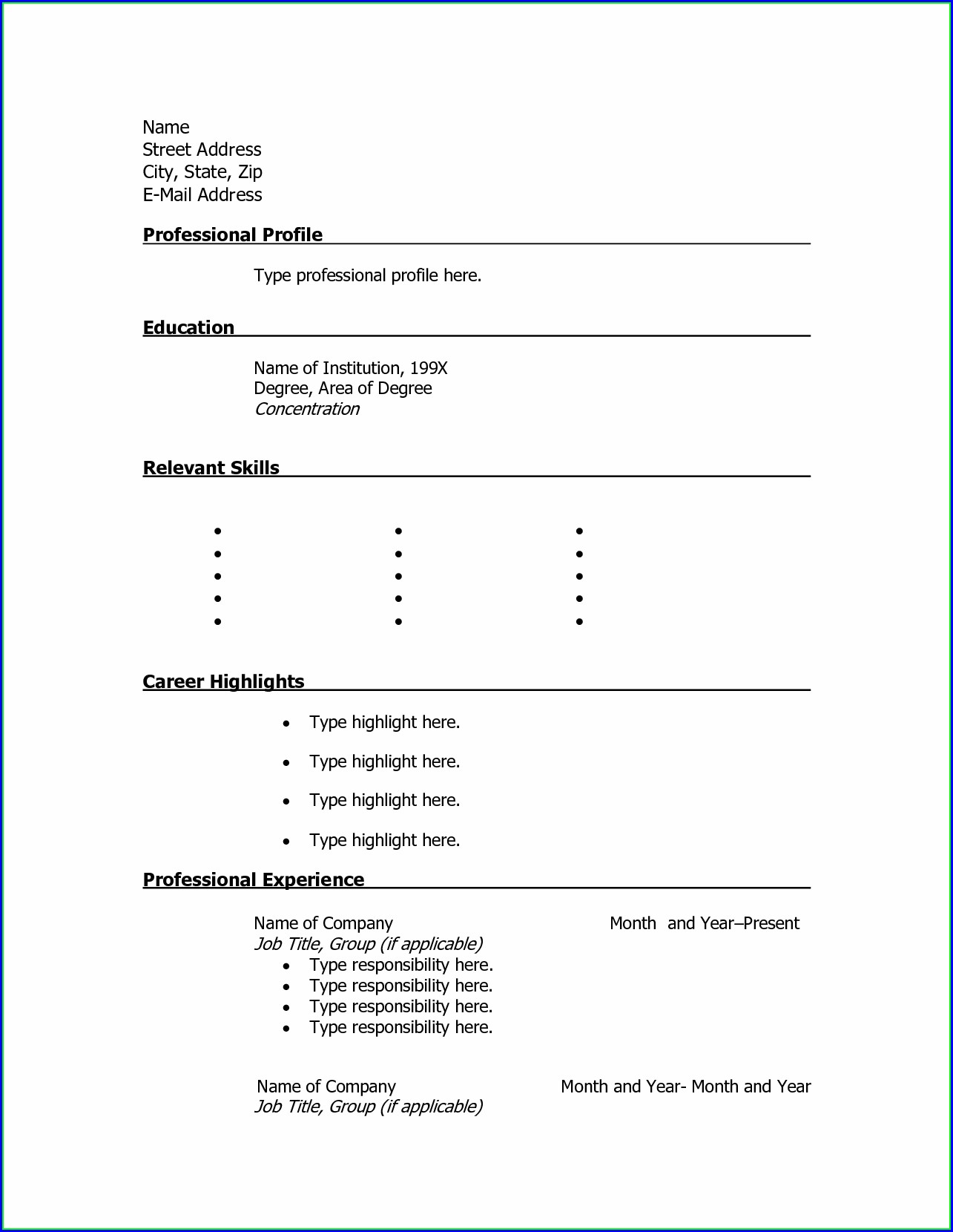 Printable Resume Template Free