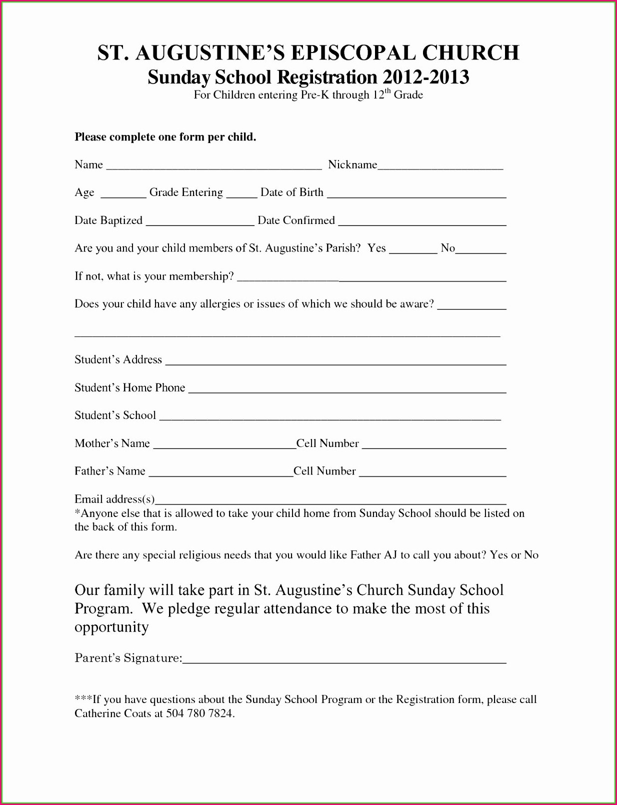 Printable Summer Camp Registration Form Template