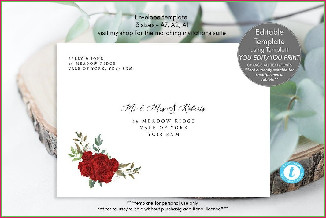 Printable Wedding Invitation Envelope Template