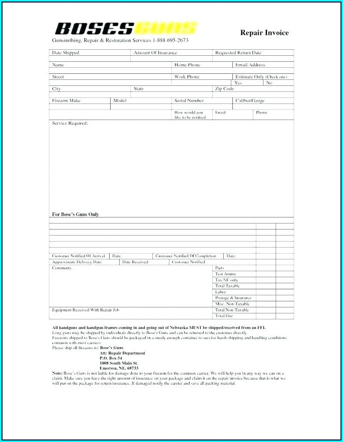Product Repair Form Template