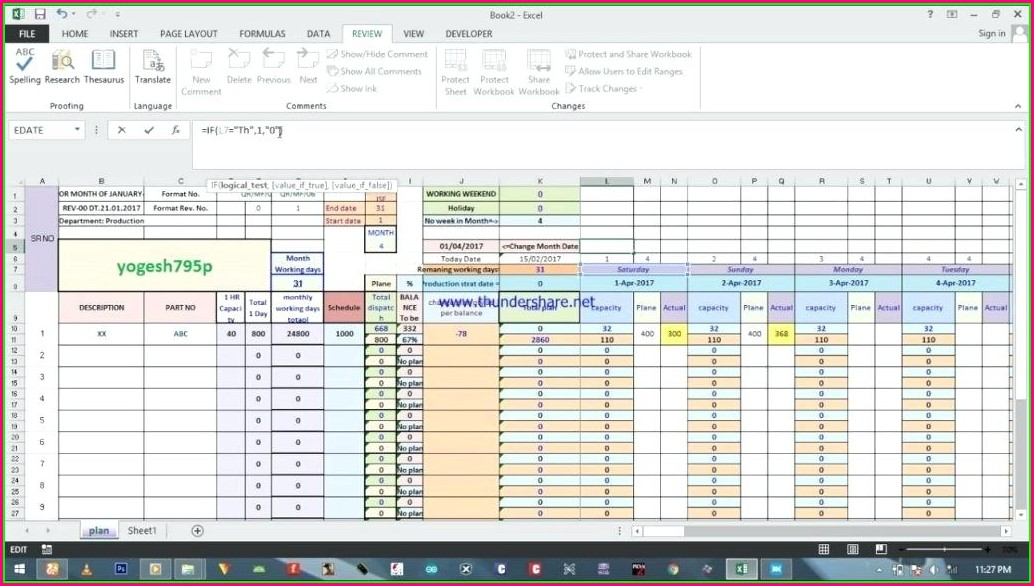 Production Planning And Control Excel Template