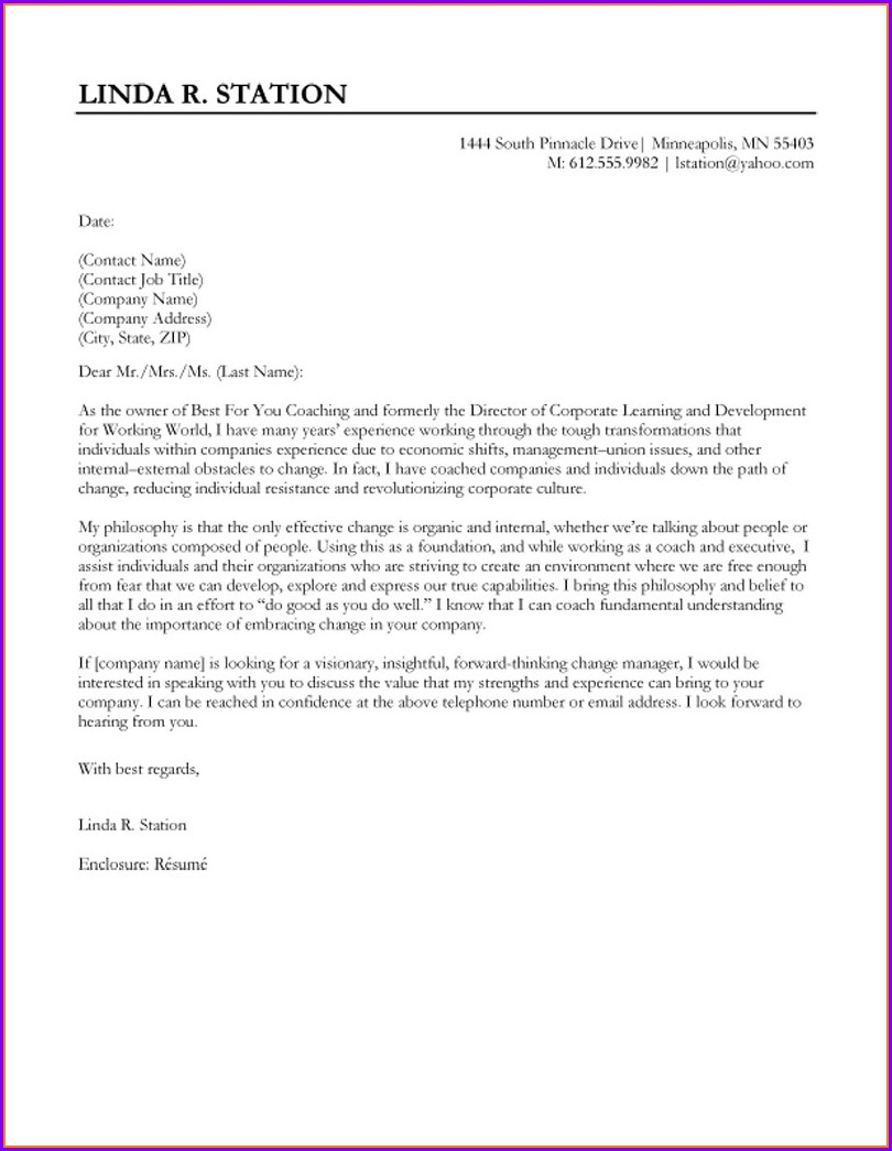 Professional Cover Letter Examples For Resumes