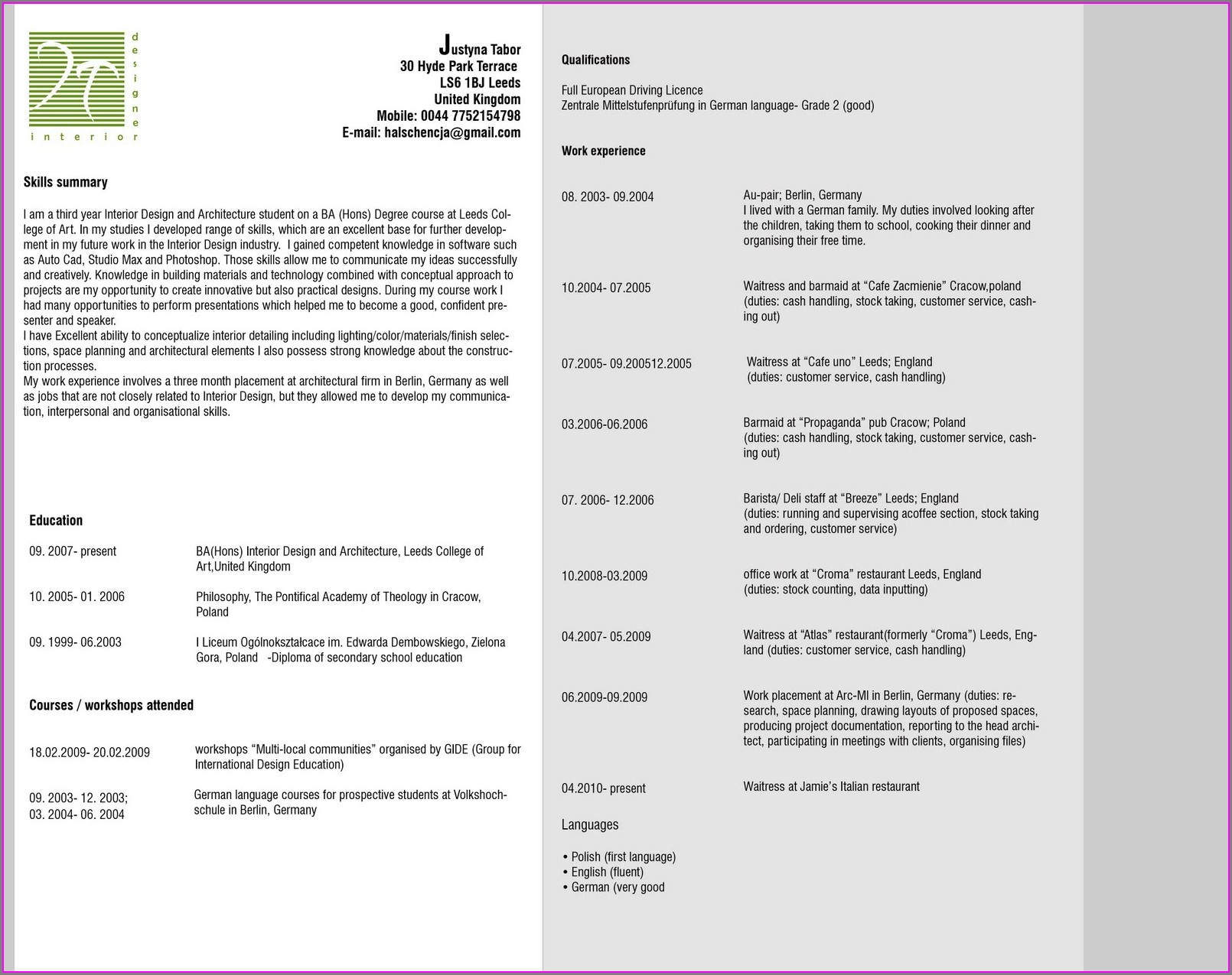 Professional Curriculum Vitae Format Free Download