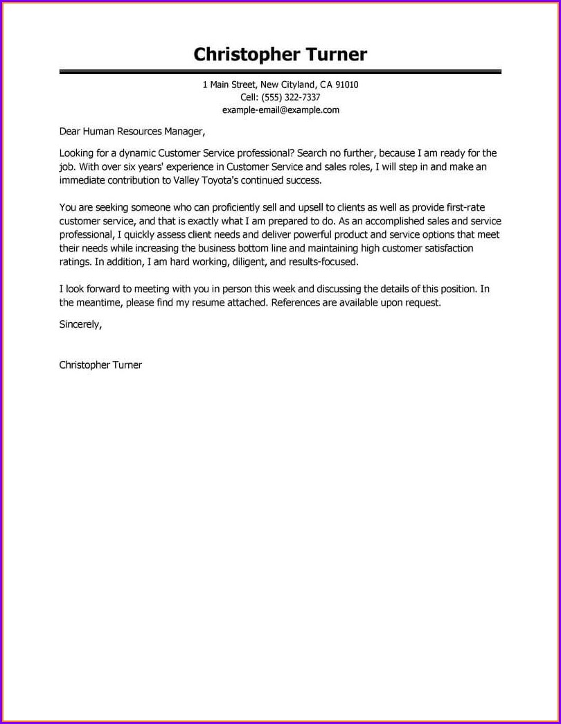 Professional Good Cover Letter Examples For Resumes