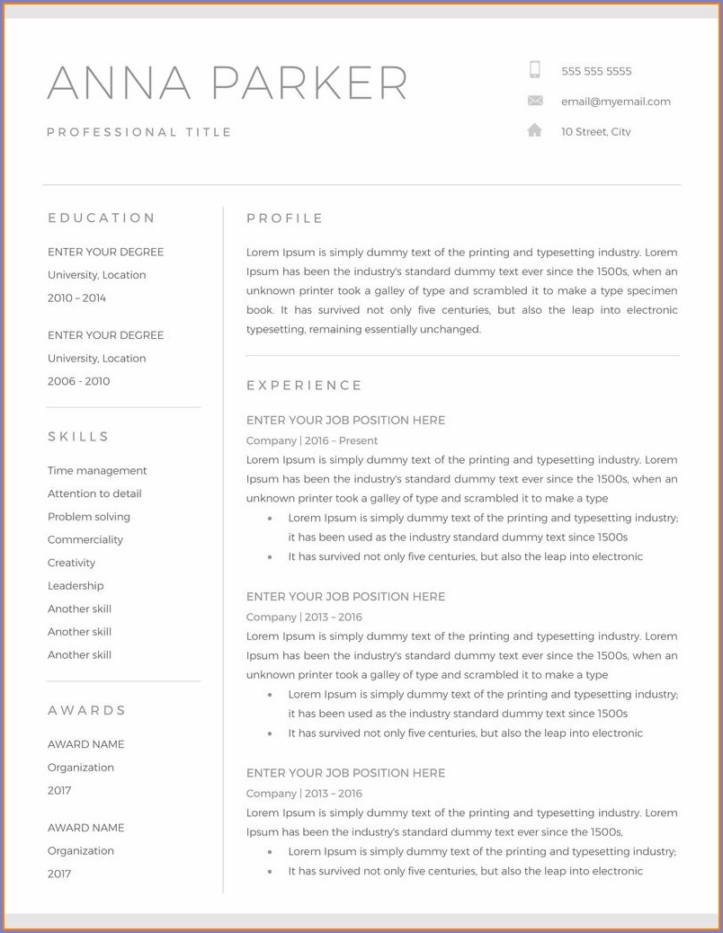 Professional Resume Cv Template Word Free Download 2019