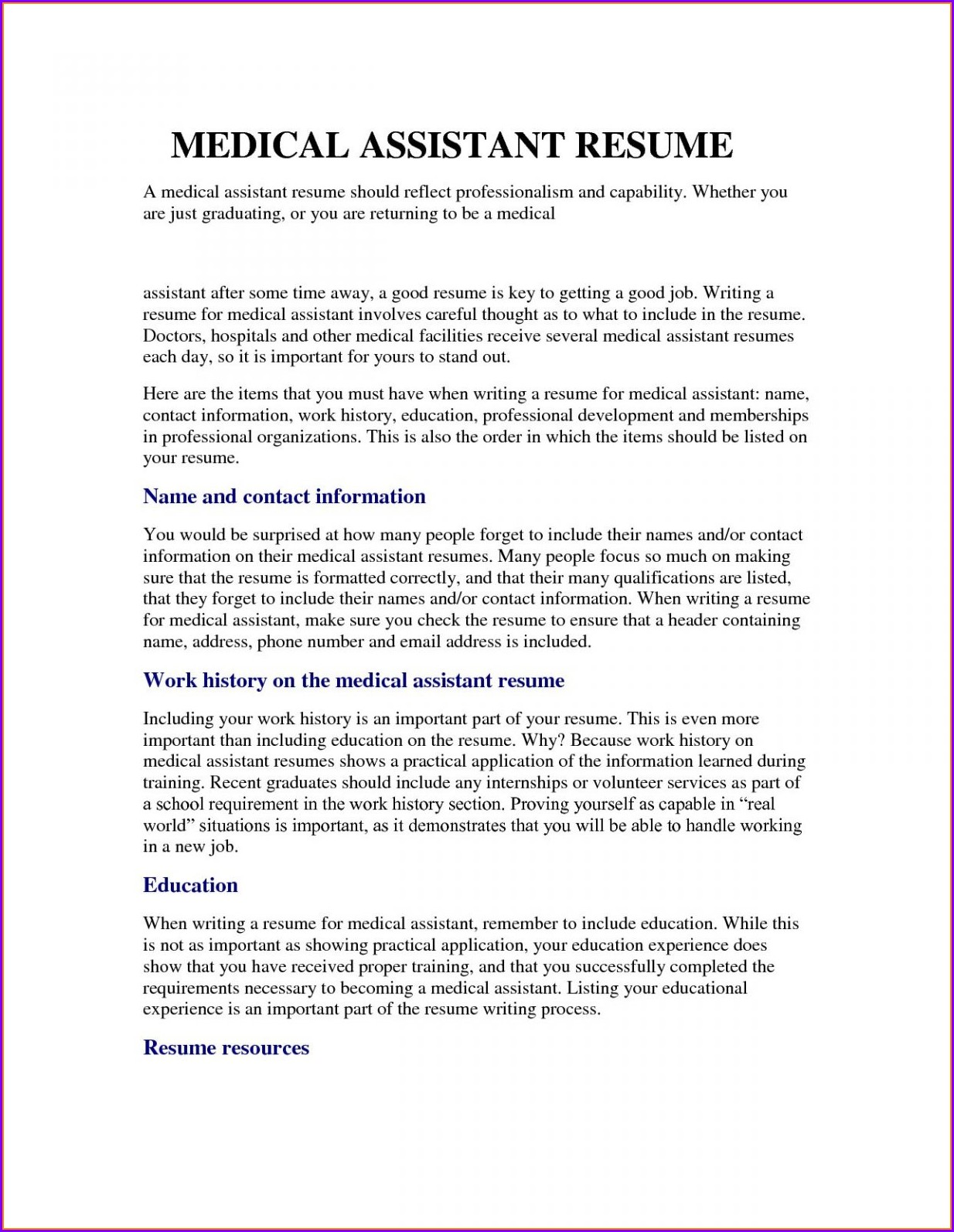 Professional Resume Examples For Medical Assistant