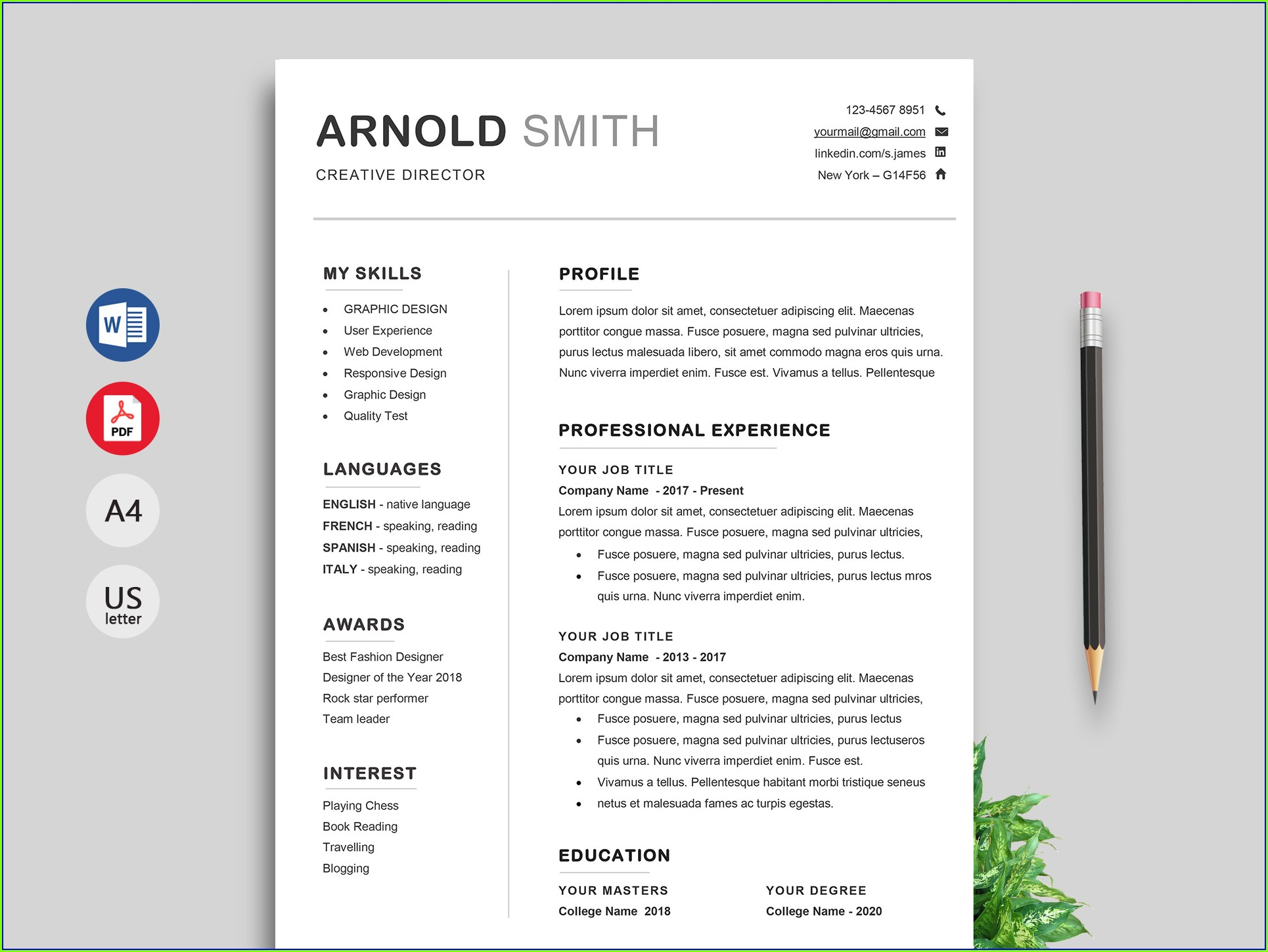 Professional Resume Free Resume Templates Download