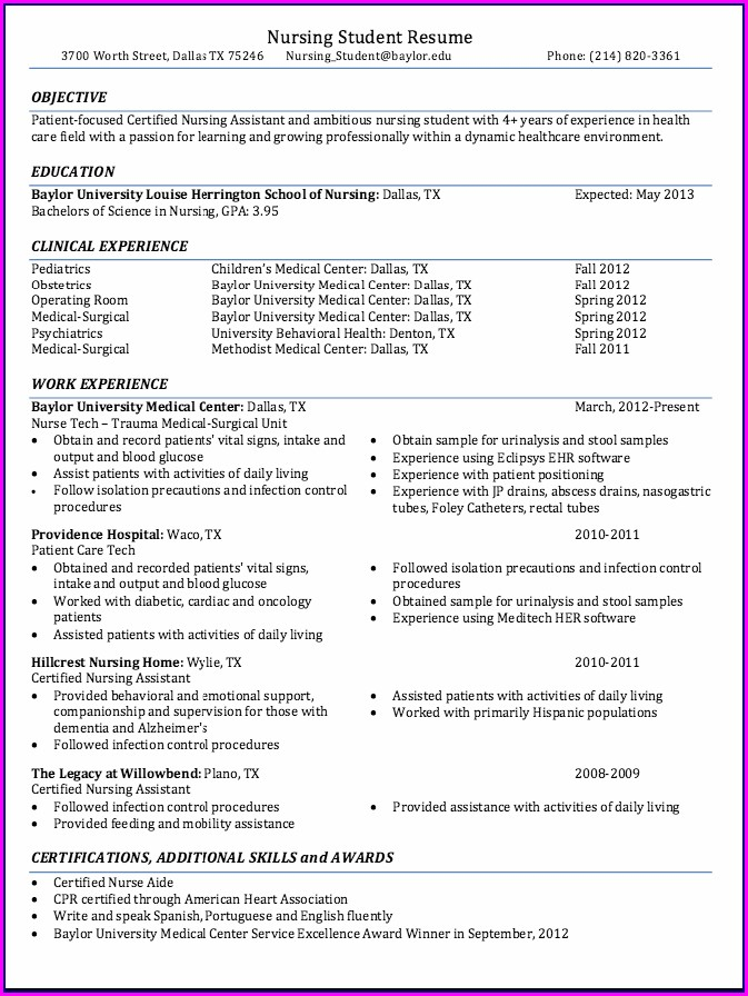 Professional Sample Resume For Nurses With Experience