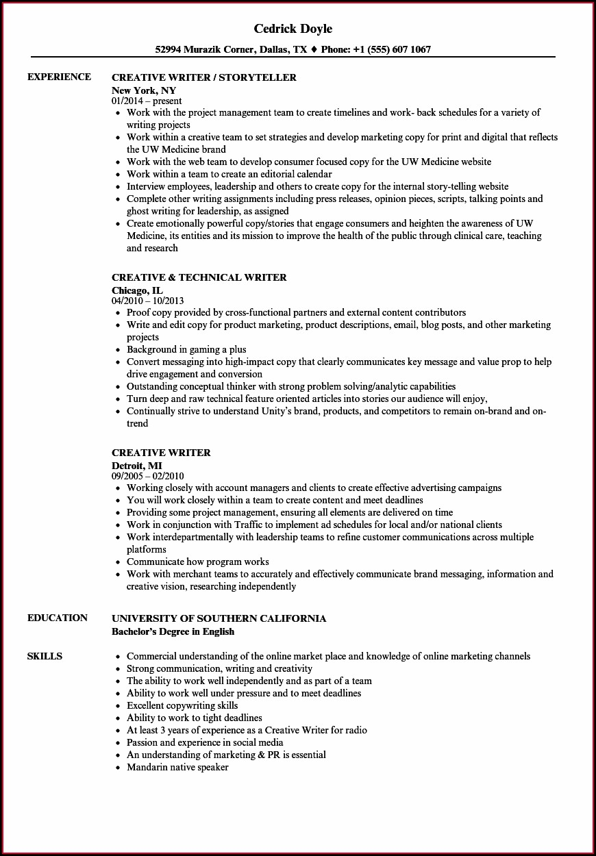 Professional Sample Resume Writing