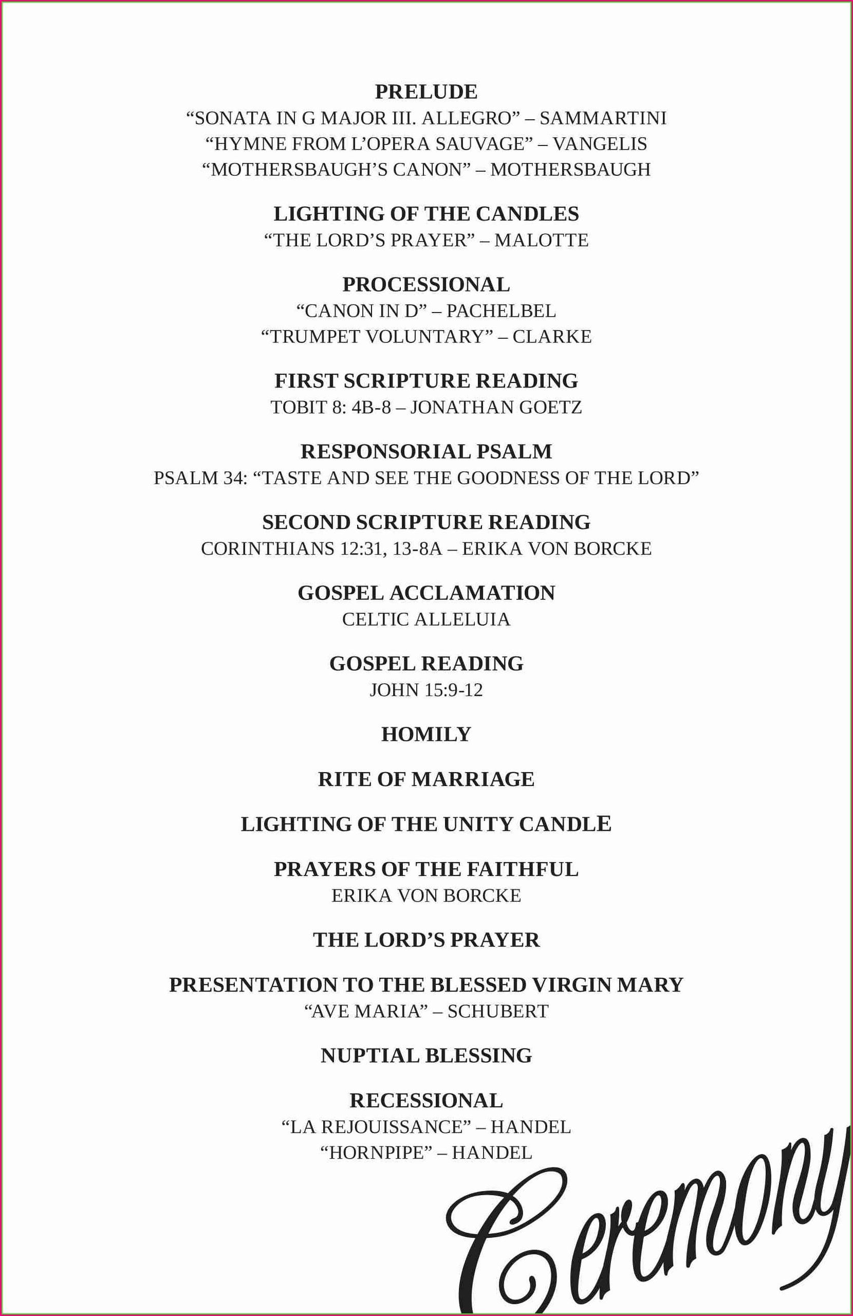 Programme Wedding Reception Program Template Free