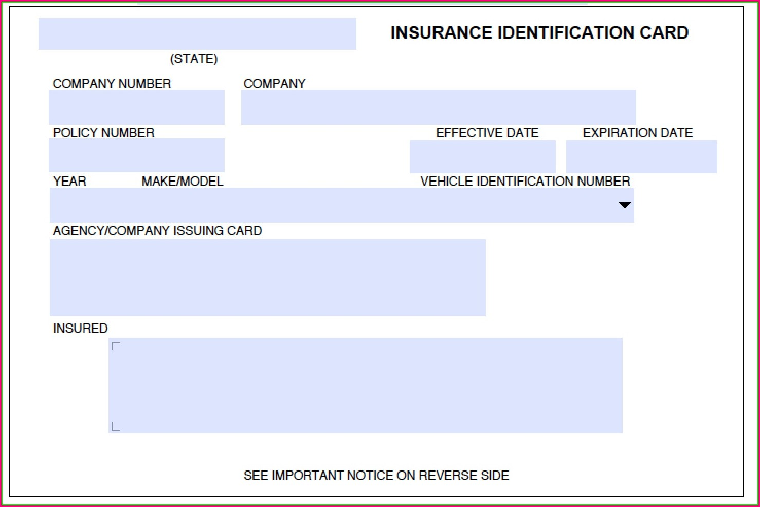 Proof Of Auto Insurance Template