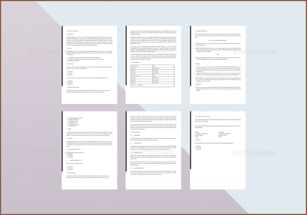 Real Estate Proposal Template Word
