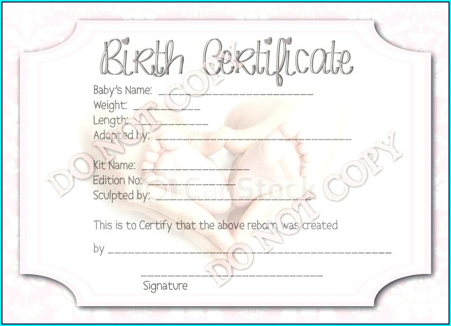 Reborn Doll Birth Certificate Template Free
