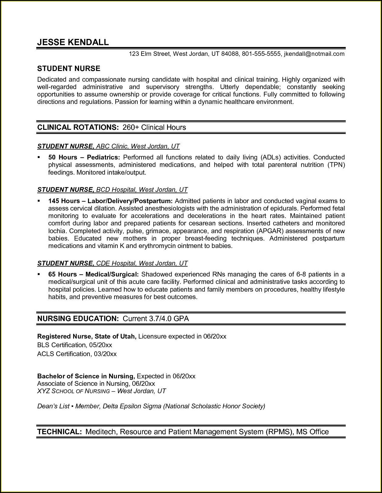 Registered Nurse Experienced Nurse Resume Template