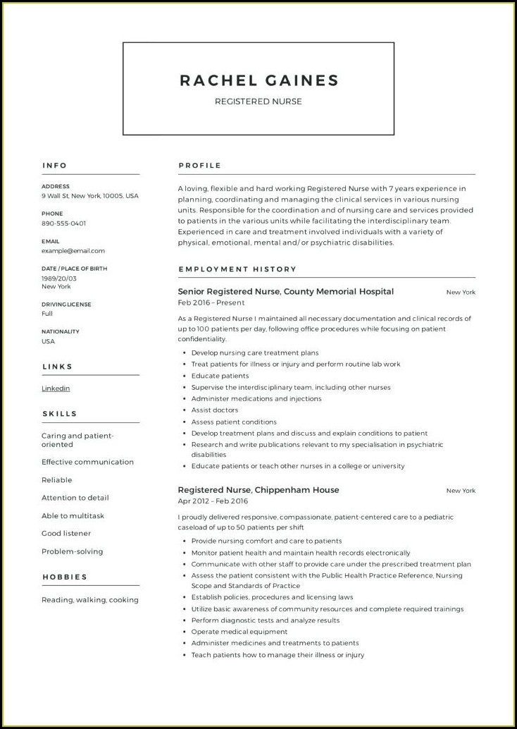 Registered Nurse Nursing Cv Template Australia