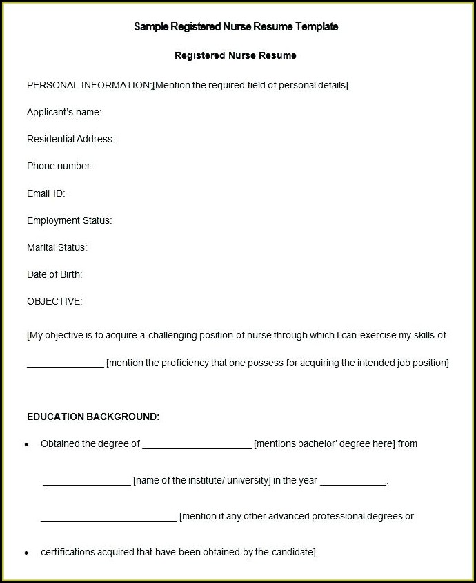 Registered Nurse Nursing Resume Format Free Download