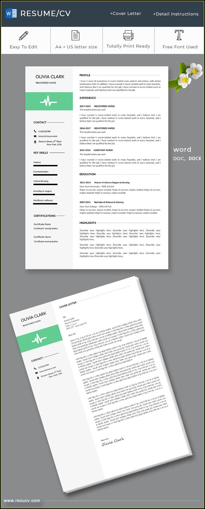 Registered Nurse Resume Cover Letter Template