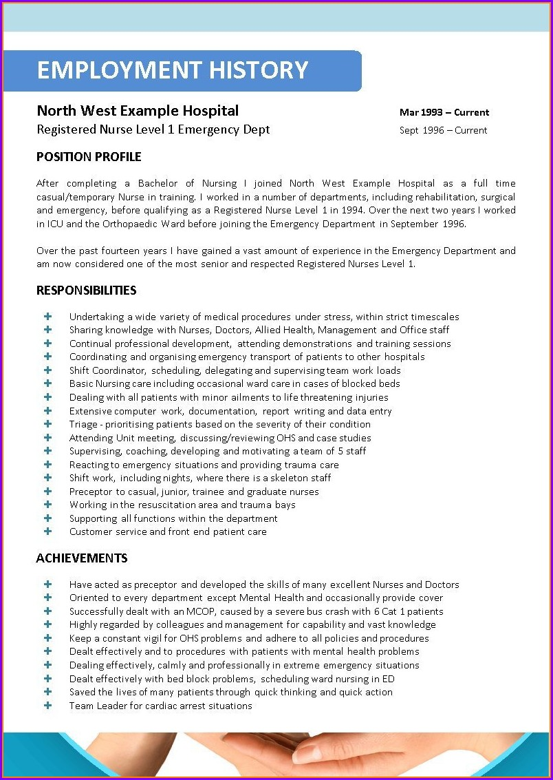 Registered Nurse Resume Format For Nurses