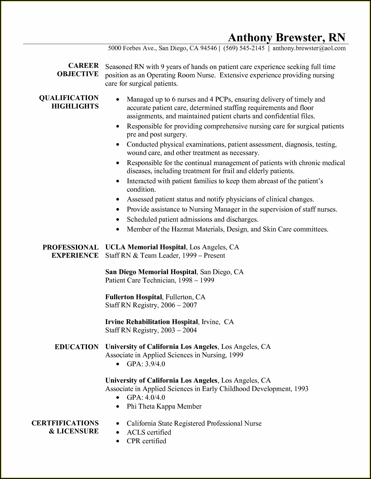 Registered Nurse Resume Sample Uk