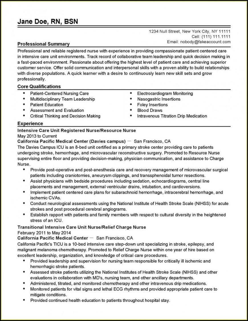 Registered Nurse Resume Template Word
