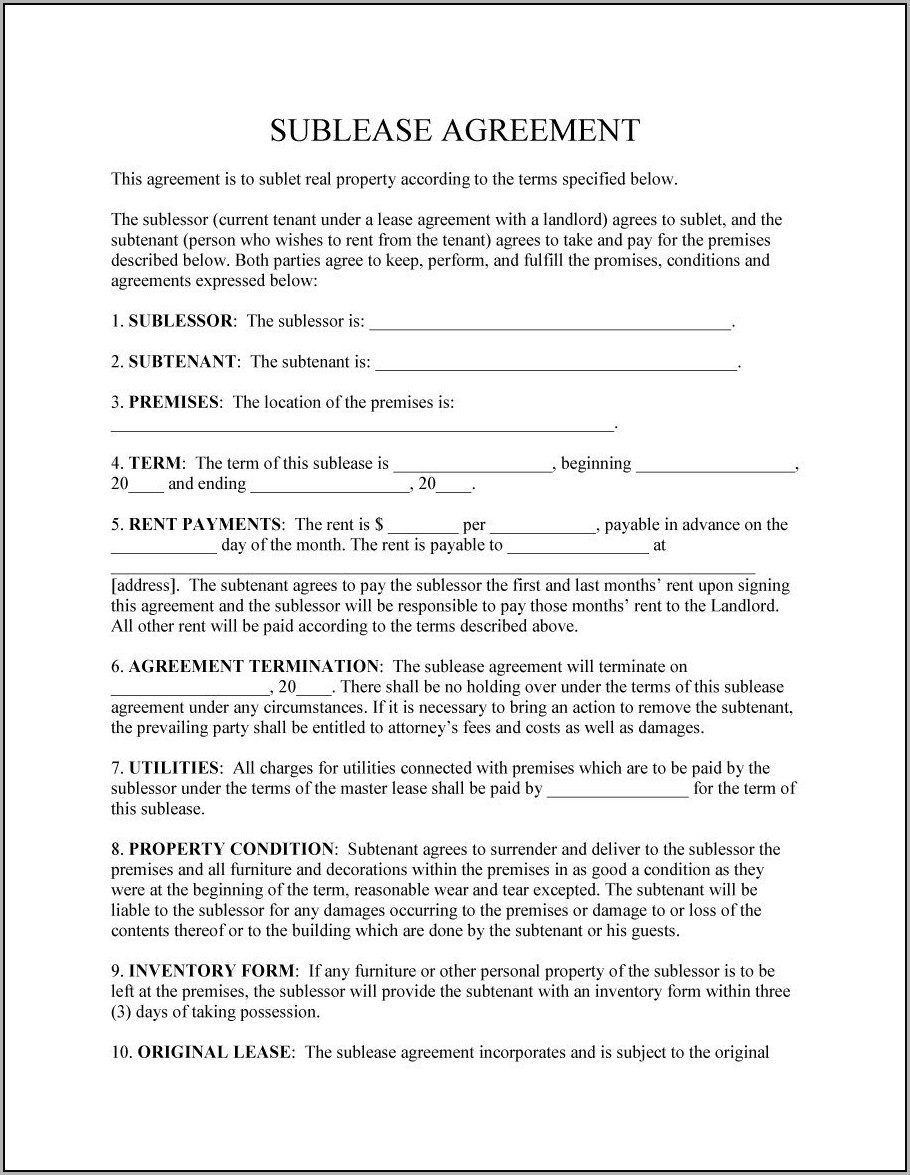 Residential Sublease Agreement Sublease Template
