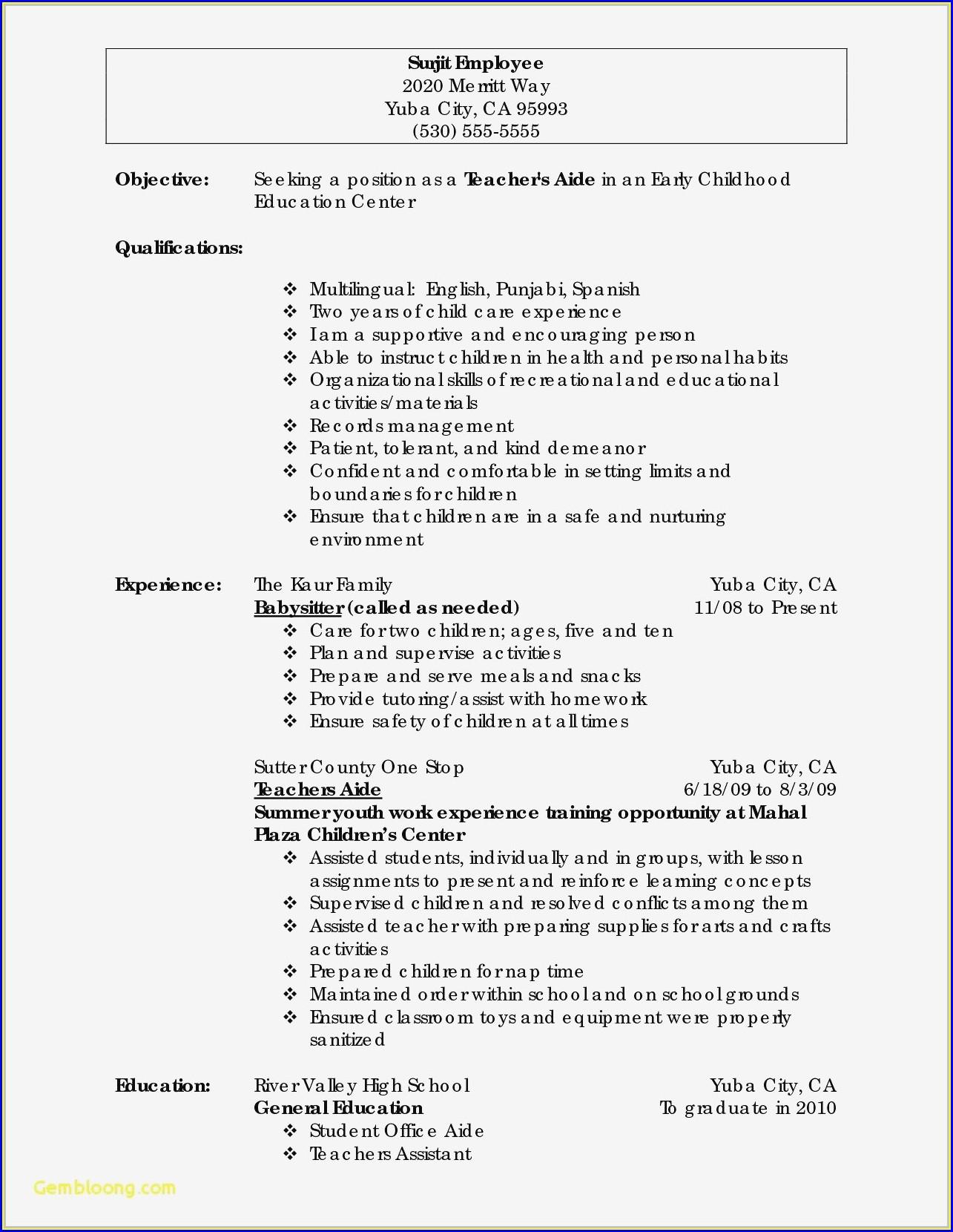 Resume Builder High Schoolers