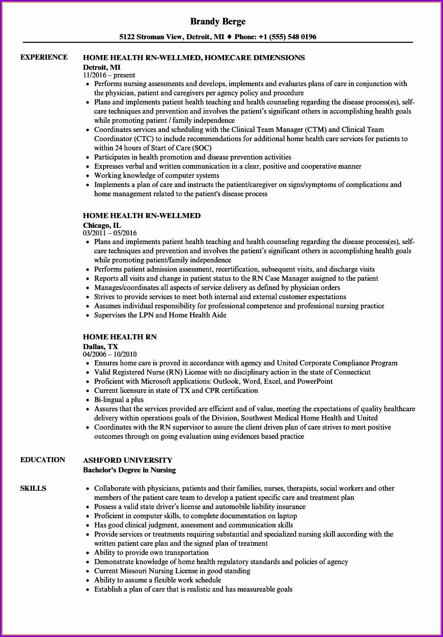 Resume Descriptions For Registered Nurse