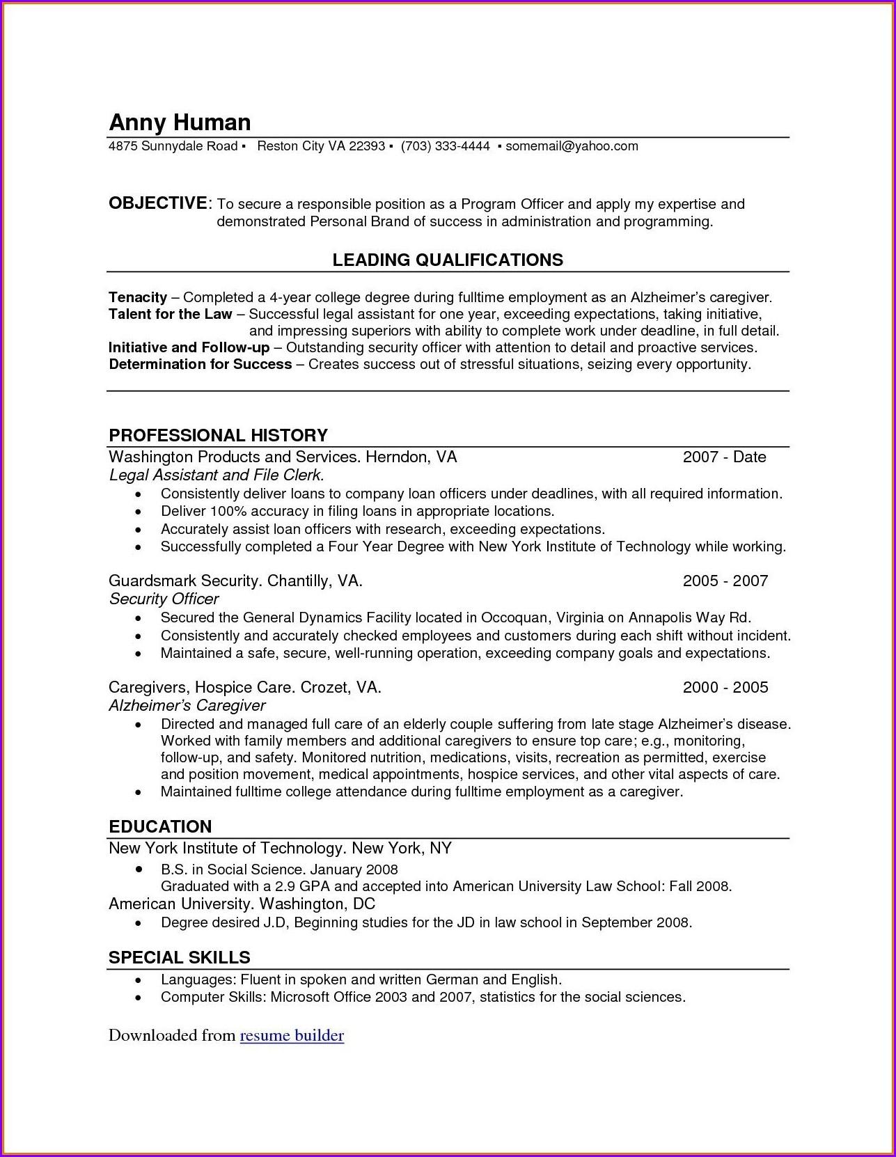 Resume Easy Format Pdf