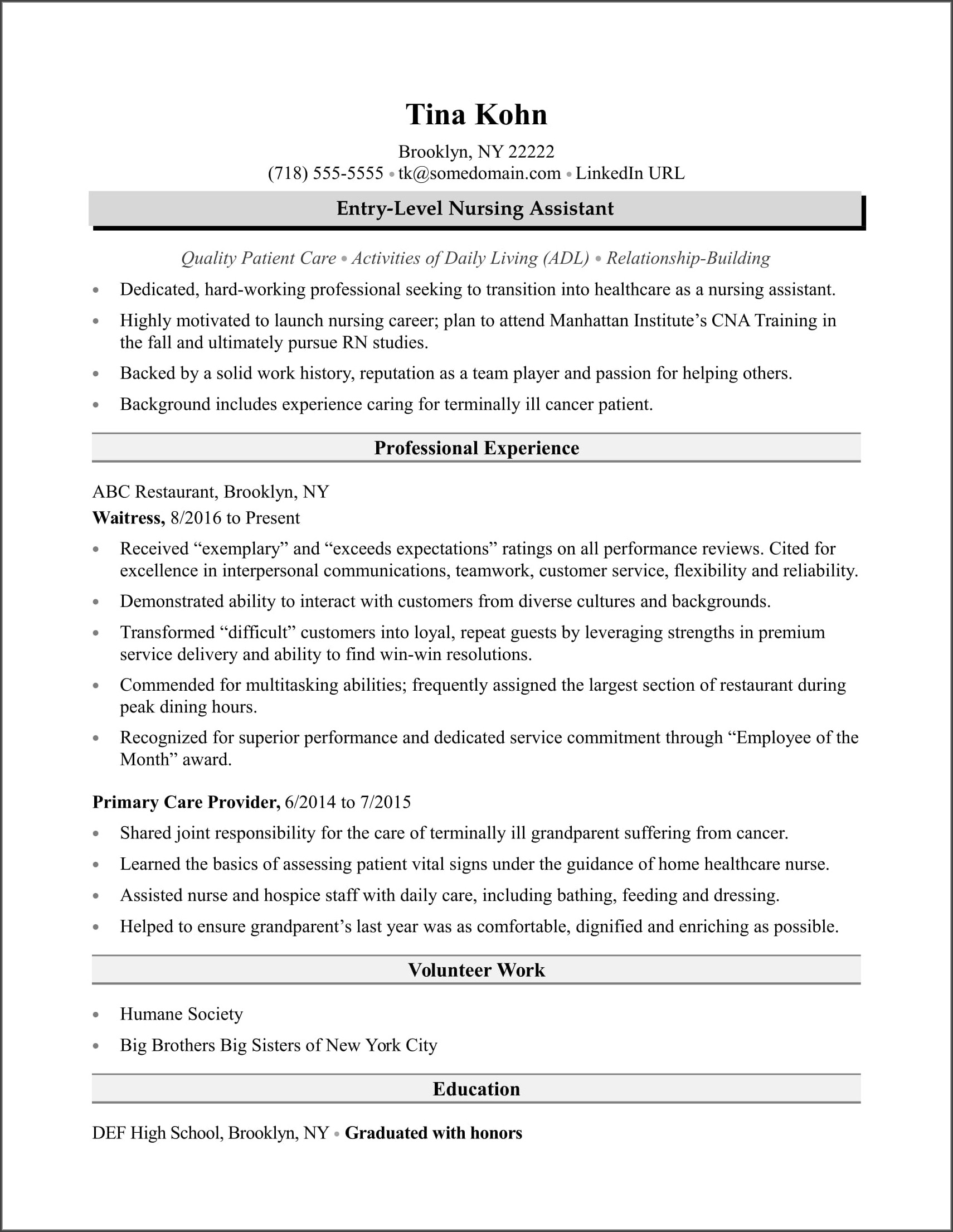 Resume Example For Cna With No Experience