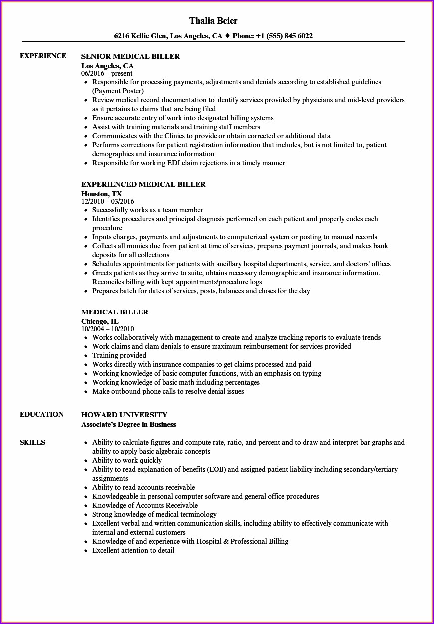 Resume Example For Medical Billing Clerk