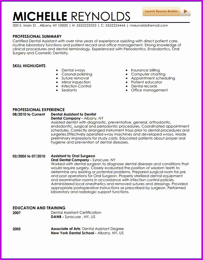 Resume Examples For Dental Assistant Job