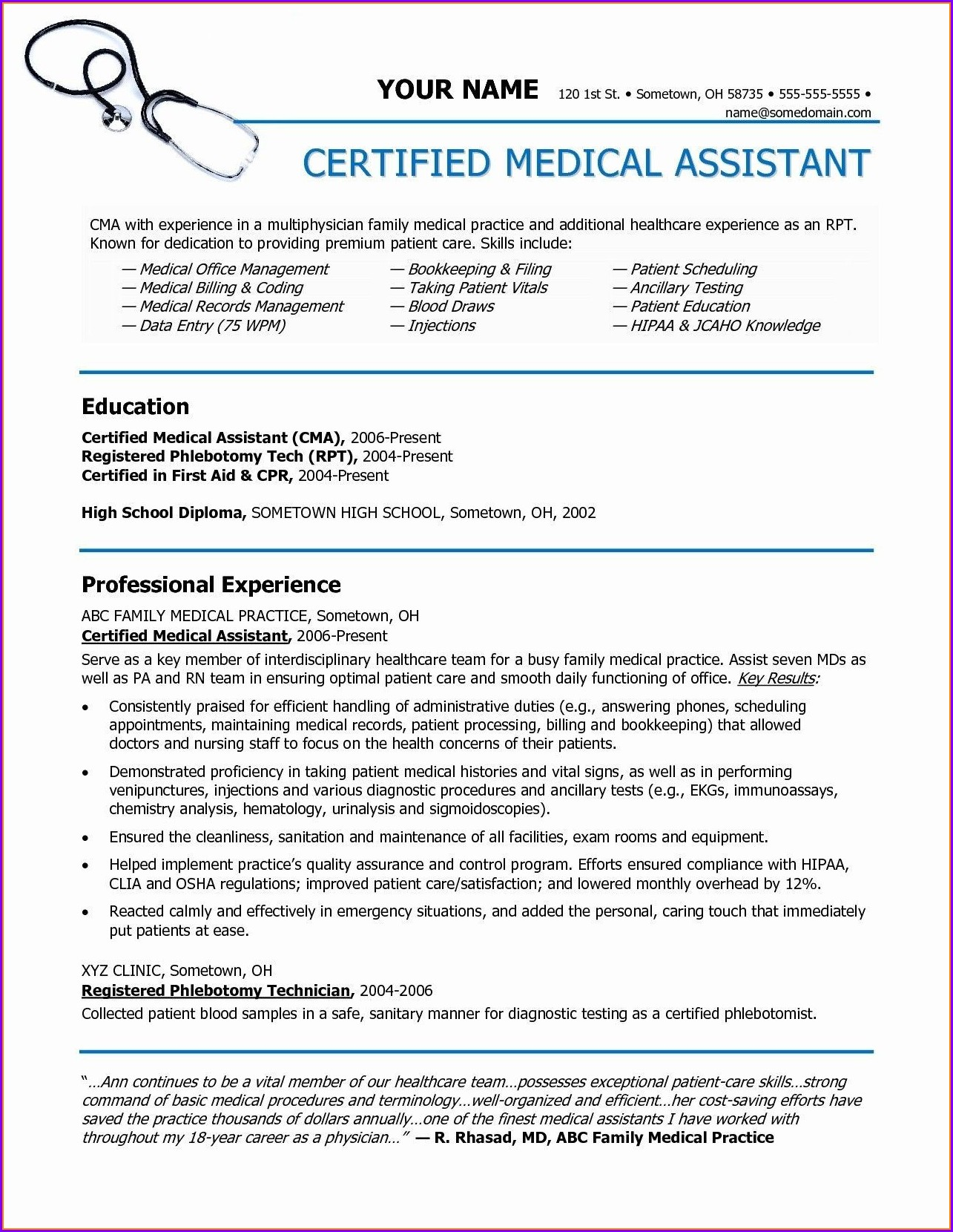 Resume Examples For Medical Billing And Coding