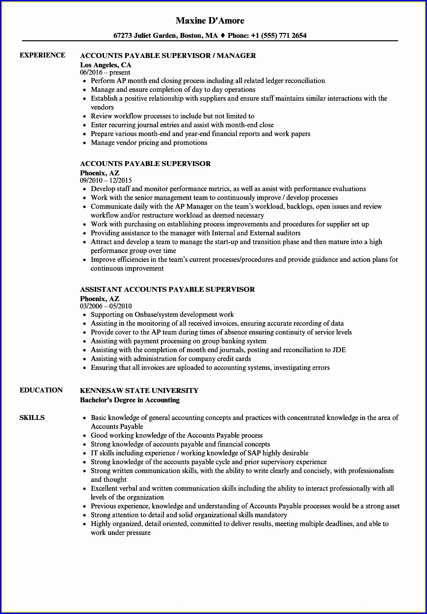 Resume For Accounts Payable Specialist