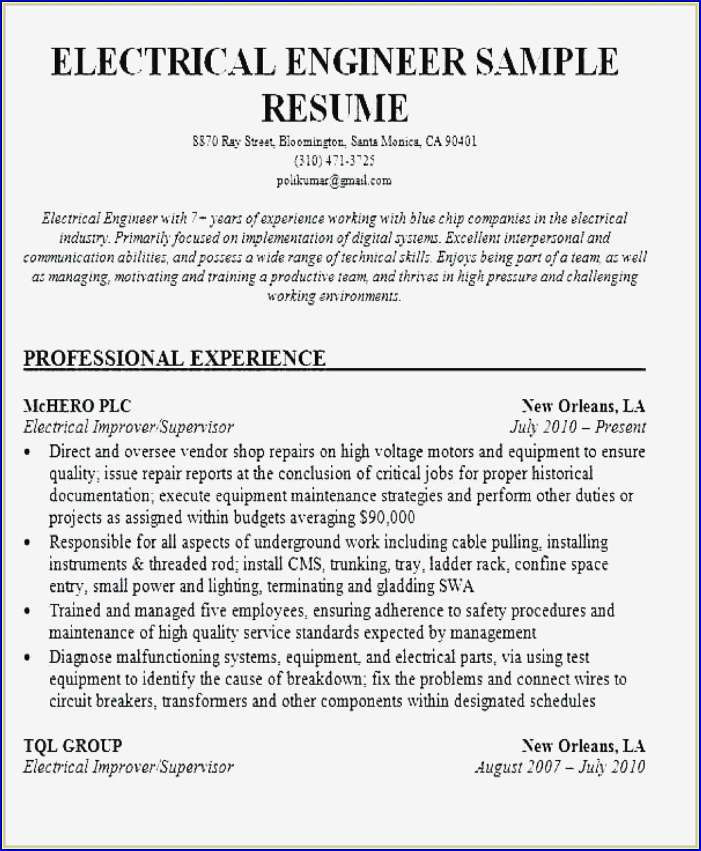 Resume For Civil Engineer Fresher Doc Download