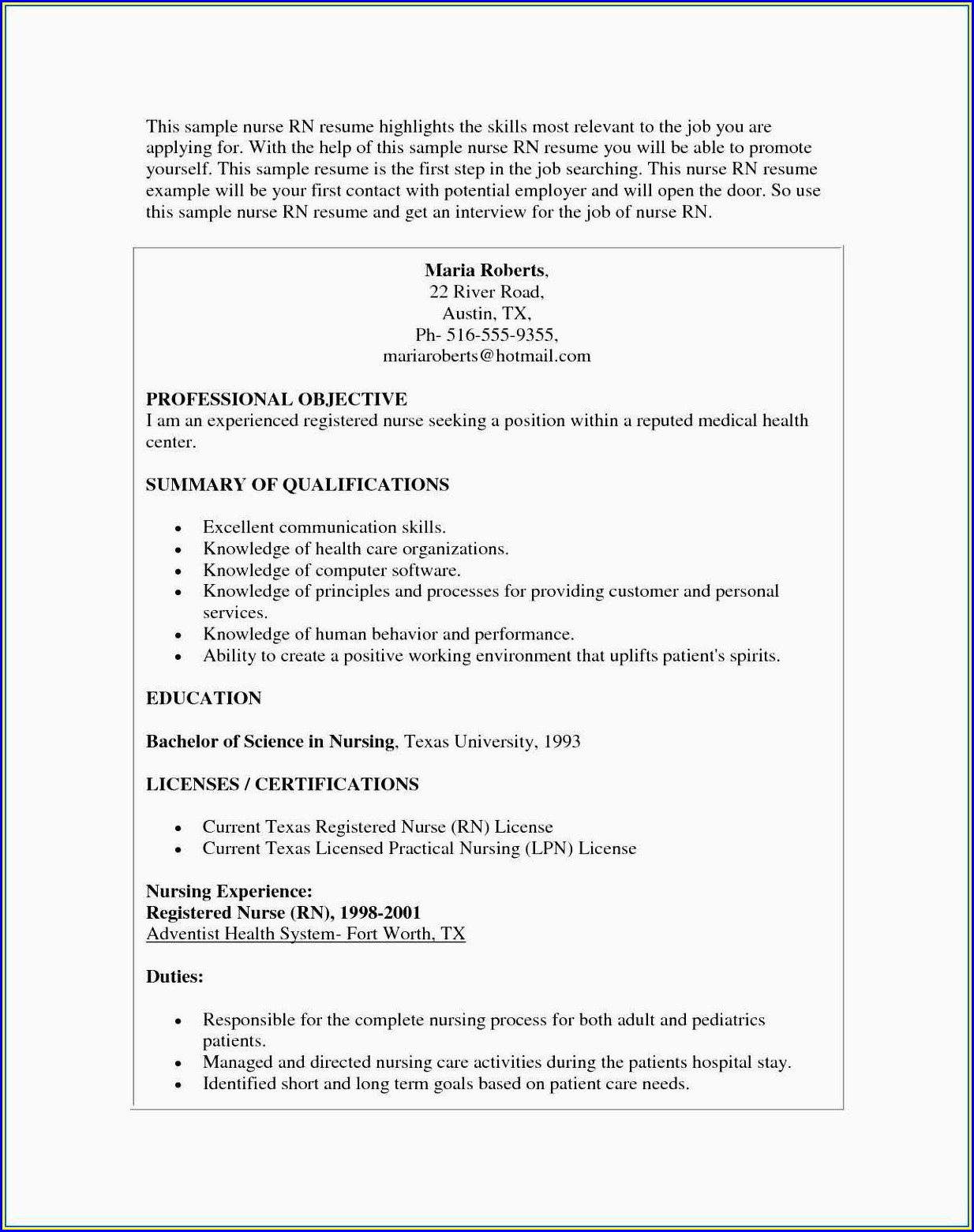 Resume For Cna Job Description