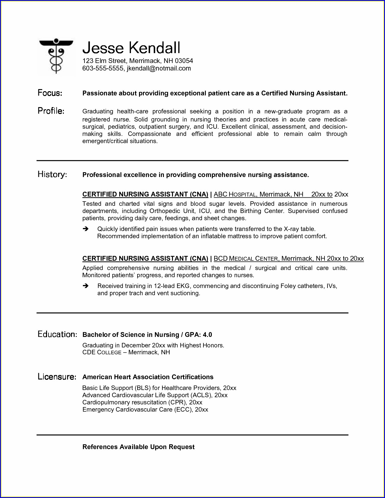 Resume For Cna Without Experience
