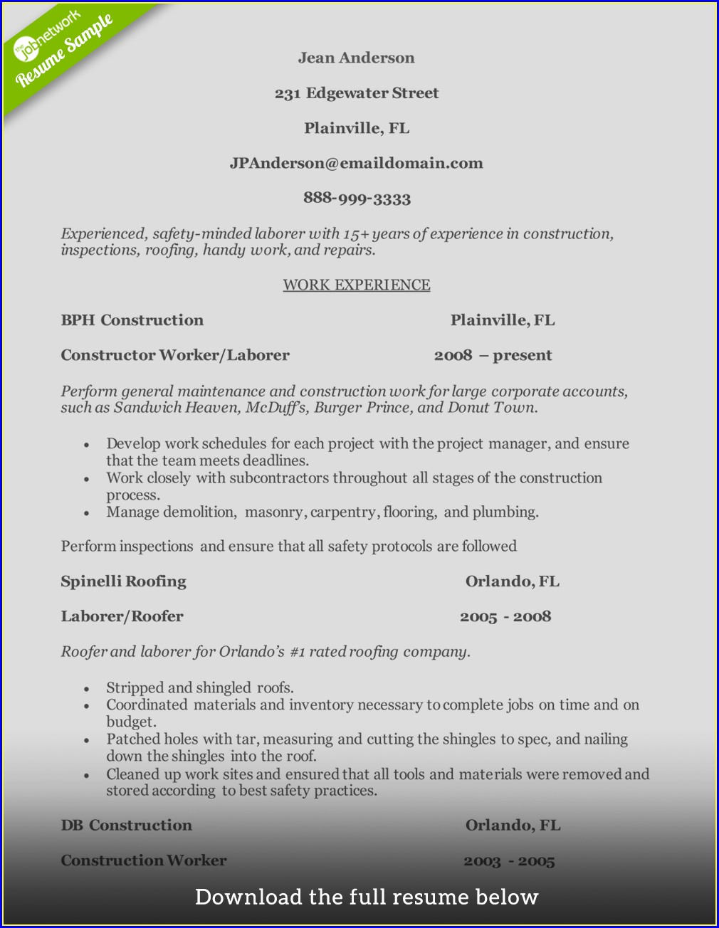 Resume For Construction Worker With No Experience